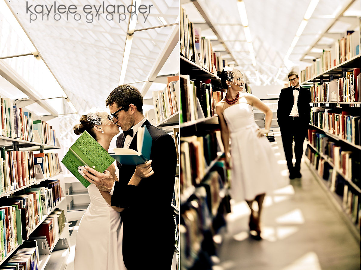 heather Kyle 9 Birdcage Veil + Bow Tie + Seattle Public Library = Happy Times!