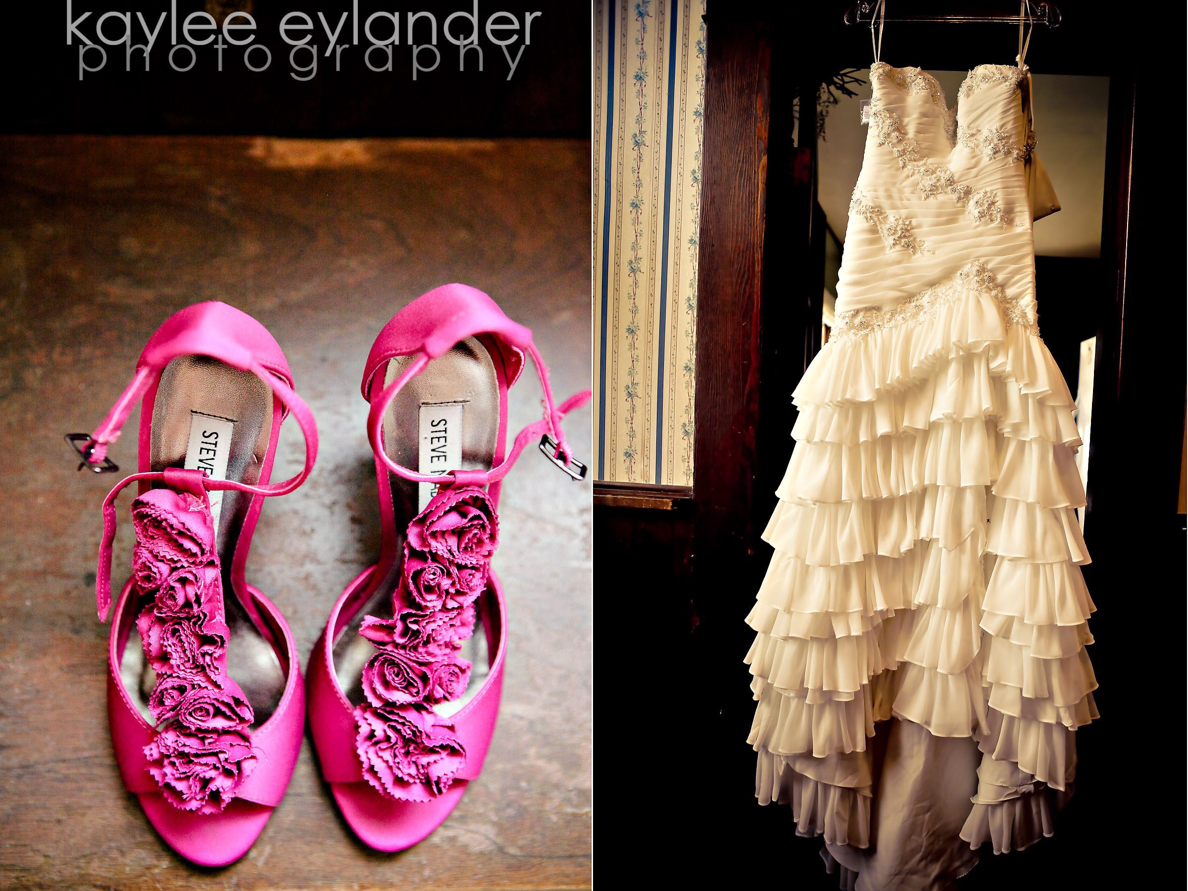 getting ready 6 Hot pink Wedding shoes & Flaminco Wedding Dresses | Snohomish Wedding Photographer | Swan's Trail Chapel