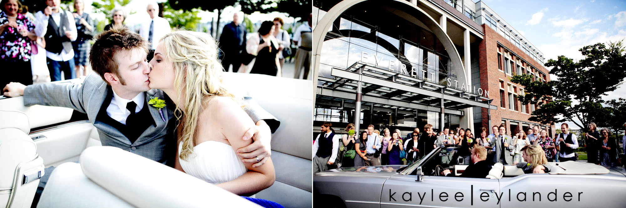 0639 Everett Train Station Wedding | Grey Tuxes & Green Flowers! | Seattle Wedding Photographers