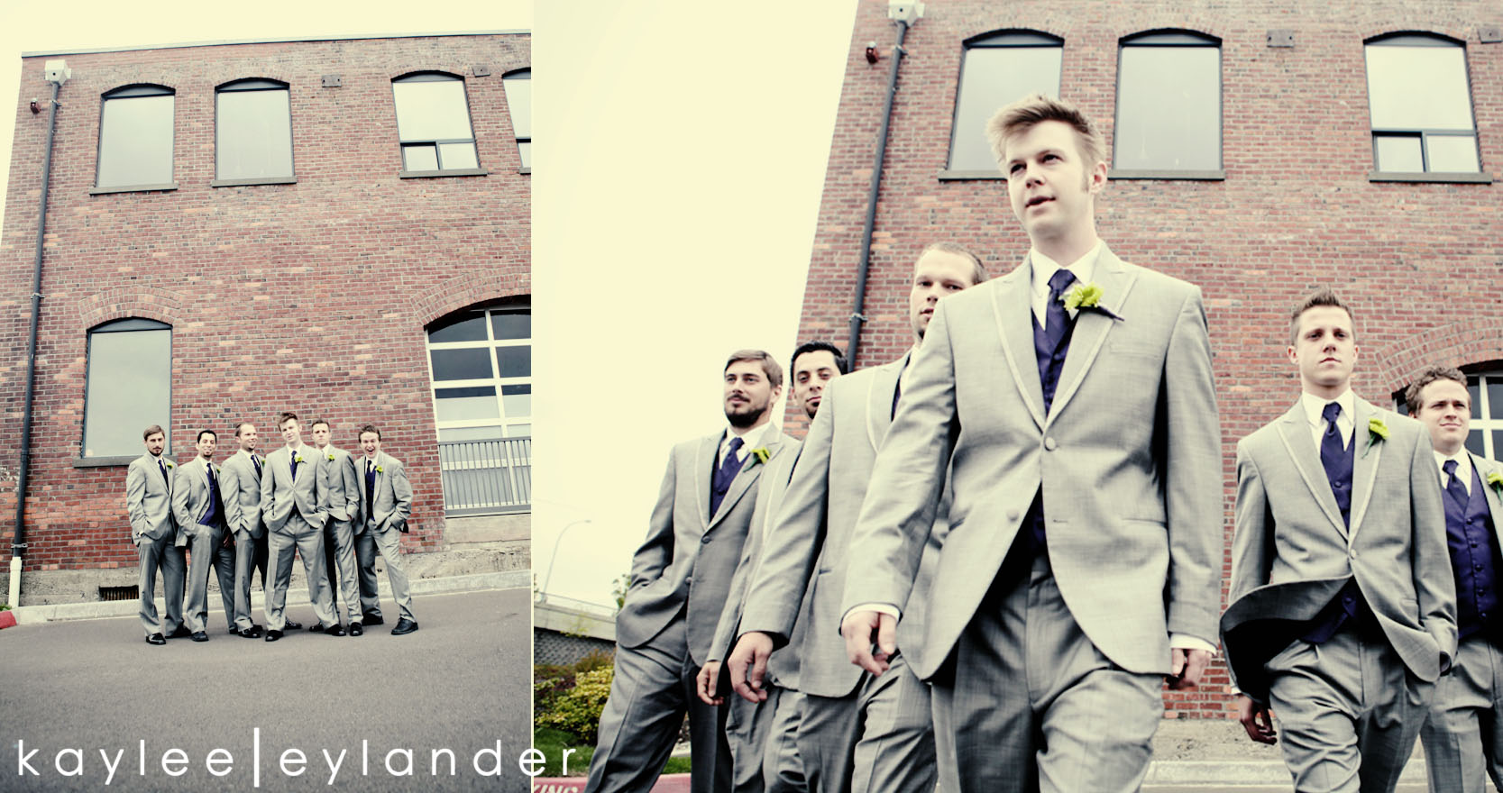 wedding party seattle photographer0207 Everett Train Station Wedding | Grey Tuxes & Green Flowers! | Seattle Wedding Photographers