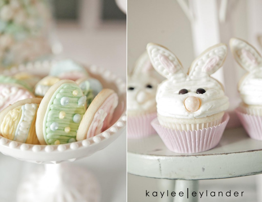 Jenny Cookies Easter Dessert Table 7 1024x790 Ruffle Cakes & Nests & Bunnies, Oh My! | Dessert Table by Jenny Keller