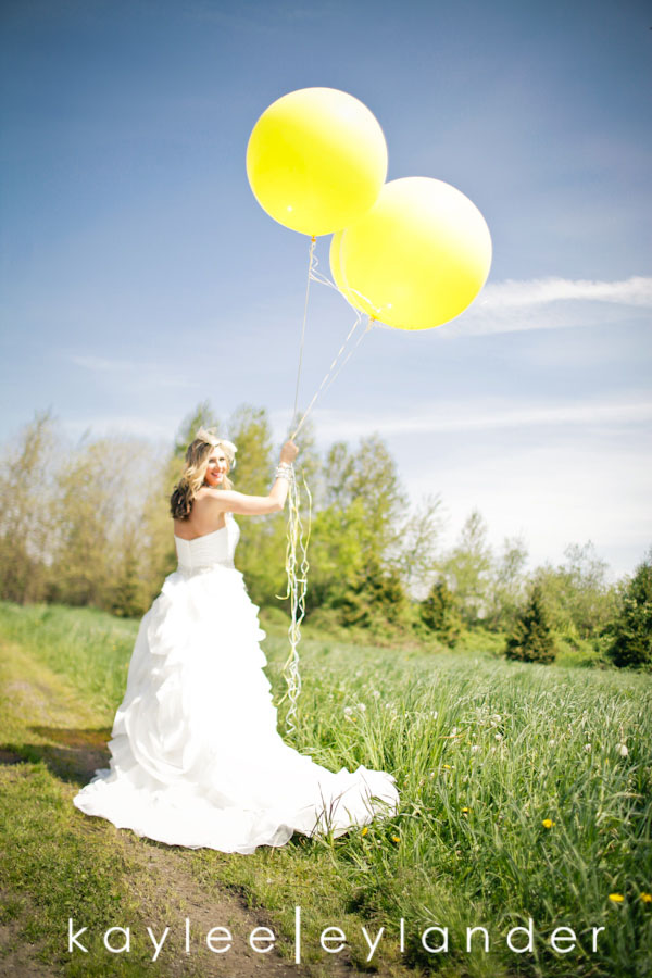 Yellow balloon wedding 40 Yellow Balloons & Sparkly Dress in a Green Field | Summer Wedding Inspiration