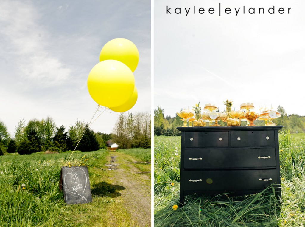 Yellow balloon wedding 89 1024x761 Yellow Balloons & Sparkly Dress in a Green Field | Summer Wedding Inspiration