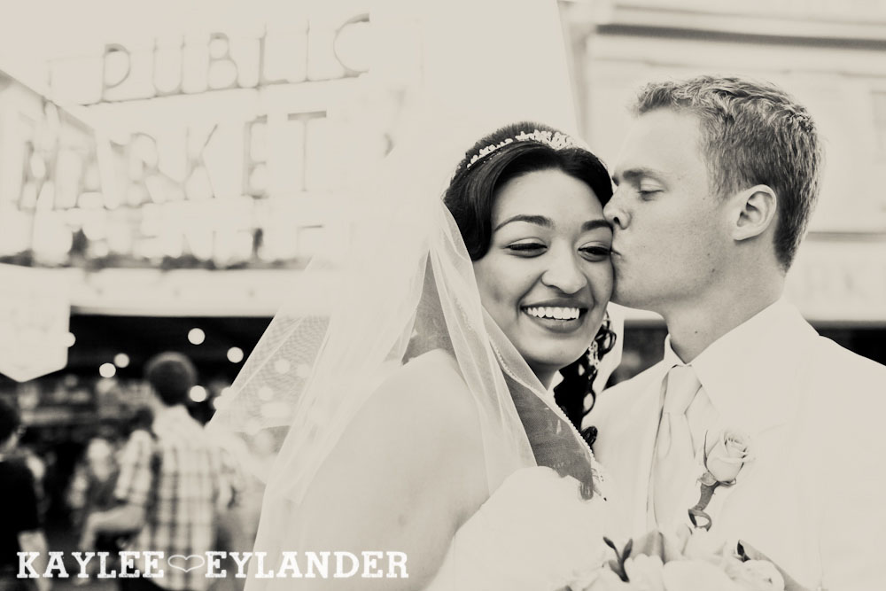 Pike Place Wedding Bride Groom 34 Pike Place First Look   Seattle Wedding Photographer   First Look