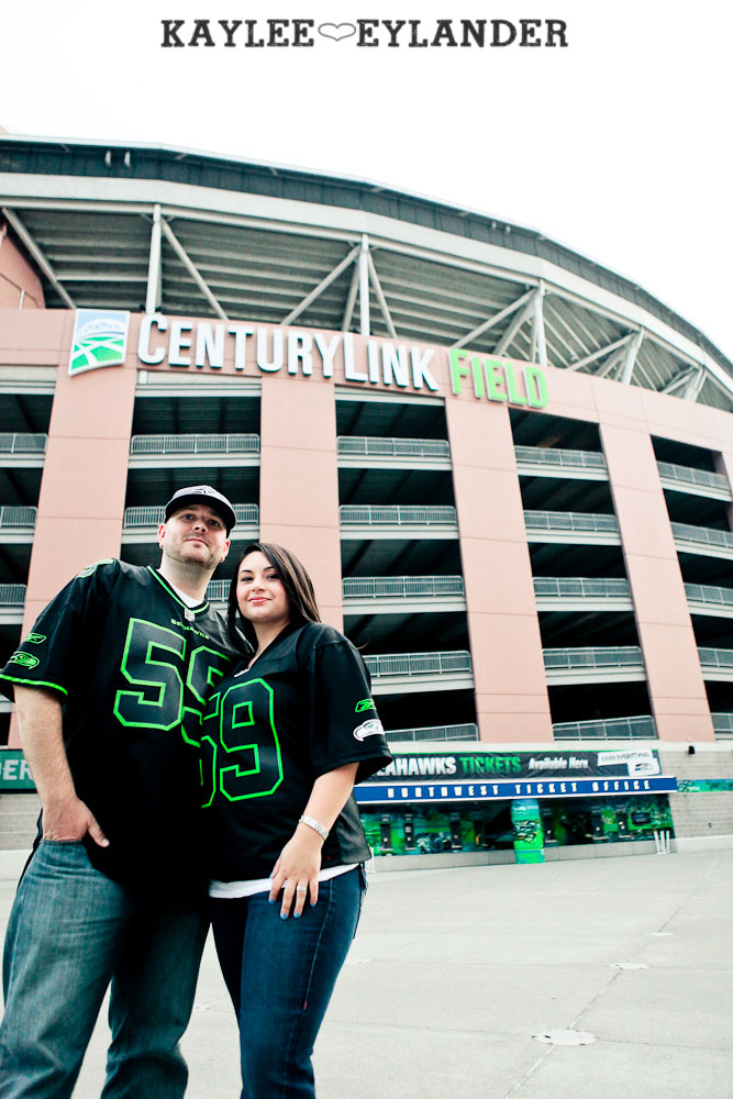 Seattle Space Needle Engagement Photographer 22 Seahawks & Seattle Space Needle Engagement Session |  Century Link Field Session