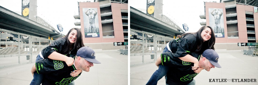 Seattle Space Needle Engagement Photographer 23 1100x363 Seahawks & Seattle Space Needle Engagement Session |  Century Link Field Session