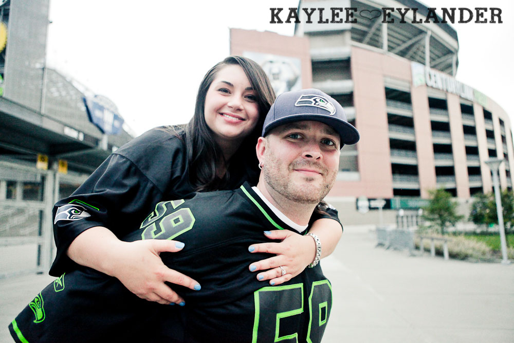 Seattle Space Needle Engagement Photographer 27 Seahawks & Seattle Space Needle Engagement Session    Century Link Field Session