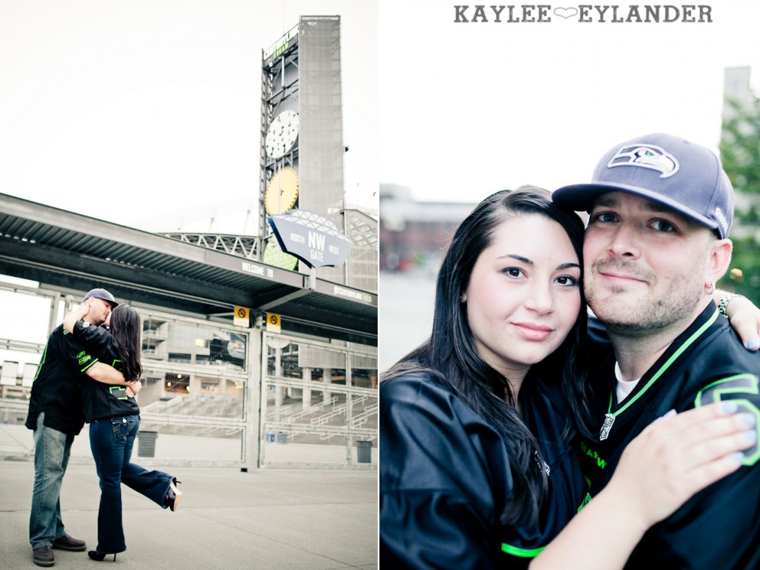 Seattle Space Needle Engagement Photographer 28 1100x825 Seahawks & Seattle Space Needle Engagement Session |  Century Link Field Session