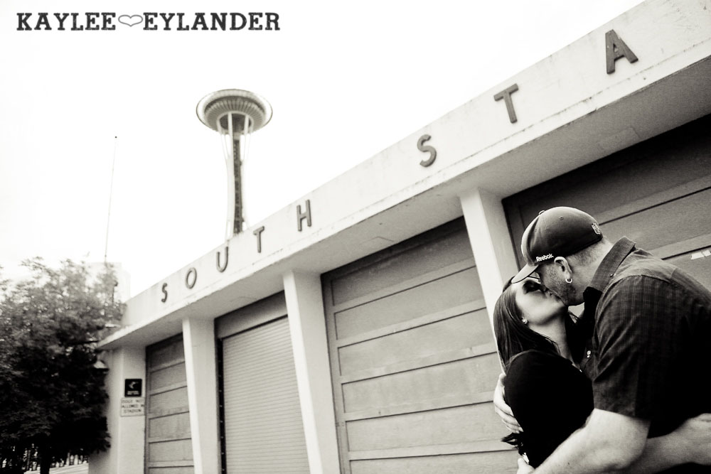 Seattle Space Needle Engagement Photographer 3 Seahawks & Seattle Space Needle Engagement Session |  Century Link Field Session