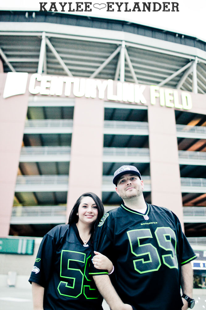 Seattle Space Needle Engagement Photographer 37 Seahawks & Seattle Space Needle Engagement Session |  Century Link Field Session