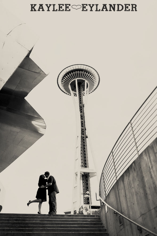 Seattle Space Needle Engagement Photographer 9 Seahawks & Seattle Space Needle Engagement Session |  Century Link Field Session