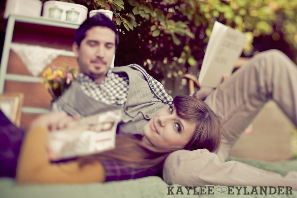00122 Vintage Engagement Session | Rowboat, a vintage type writer Beach cruisers & Love