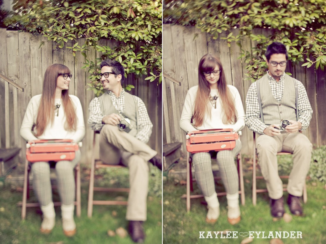 00232 1100x825 Vintage Engagement Session | Rowboat, a vintage type writer Beach cruisers & Love