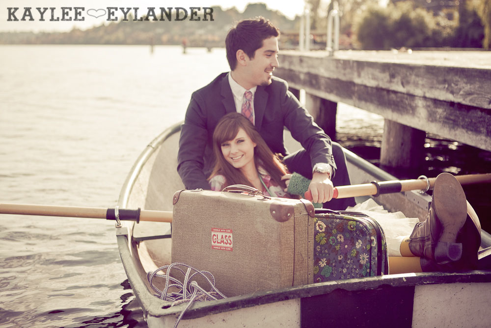 0036 Vintage Engagement Session | Rowboat, a vintage type writer Beach cruisers & Love