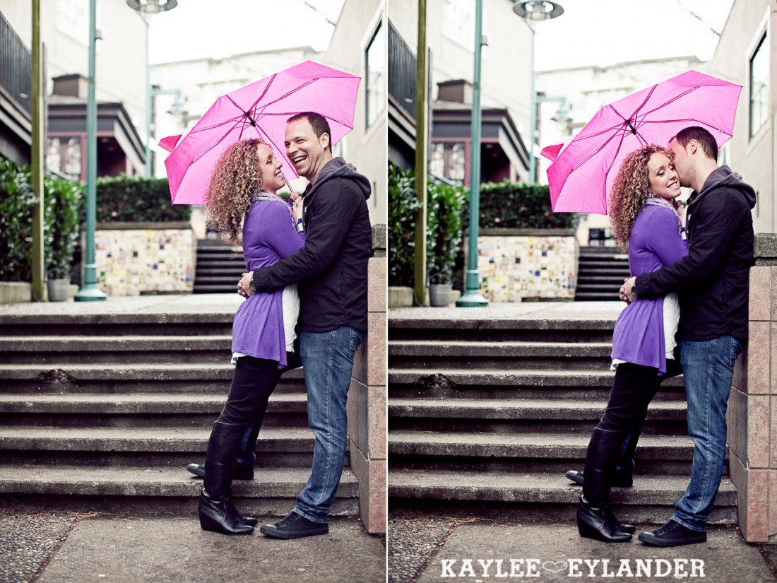 Kirkland waterfront engagement session 36 1100x825 Kirkland Engagement Session | 1 Hot Pink Umbrella and Two people in love!
