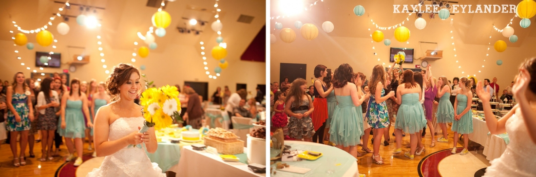 turquoise and yellow wedding reception 12 1100x363 Everett Wedding Photographer|  Amazingly fun Circus themed Wedding