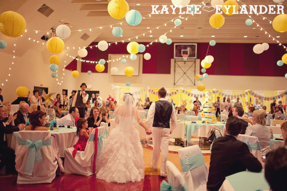 turquoise and yellow wedding reception 7 Copy Everett Wedding Photographer|  Amazingly fun Circus themed Wedding
