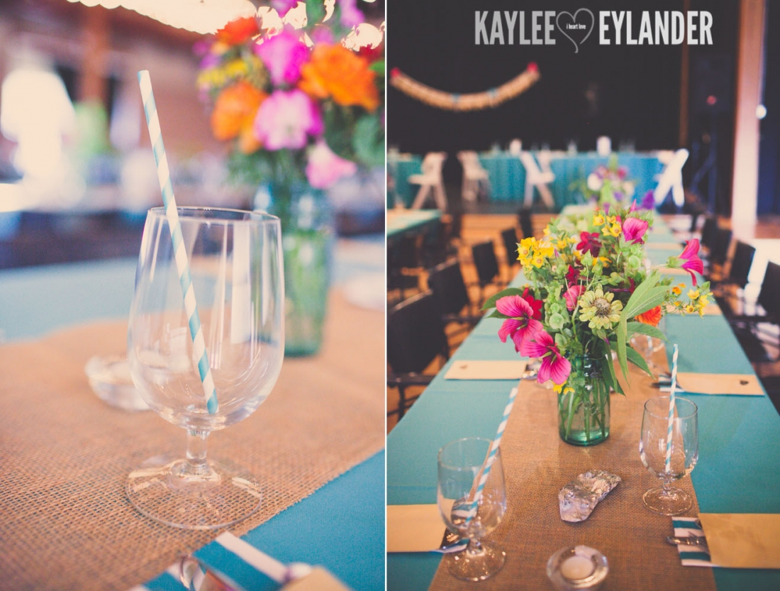 Lopez Island Community Center Wedding 4 1100x833 Lopez Island Community Center Wedding | Turquoise & Pink DIY...my fave!