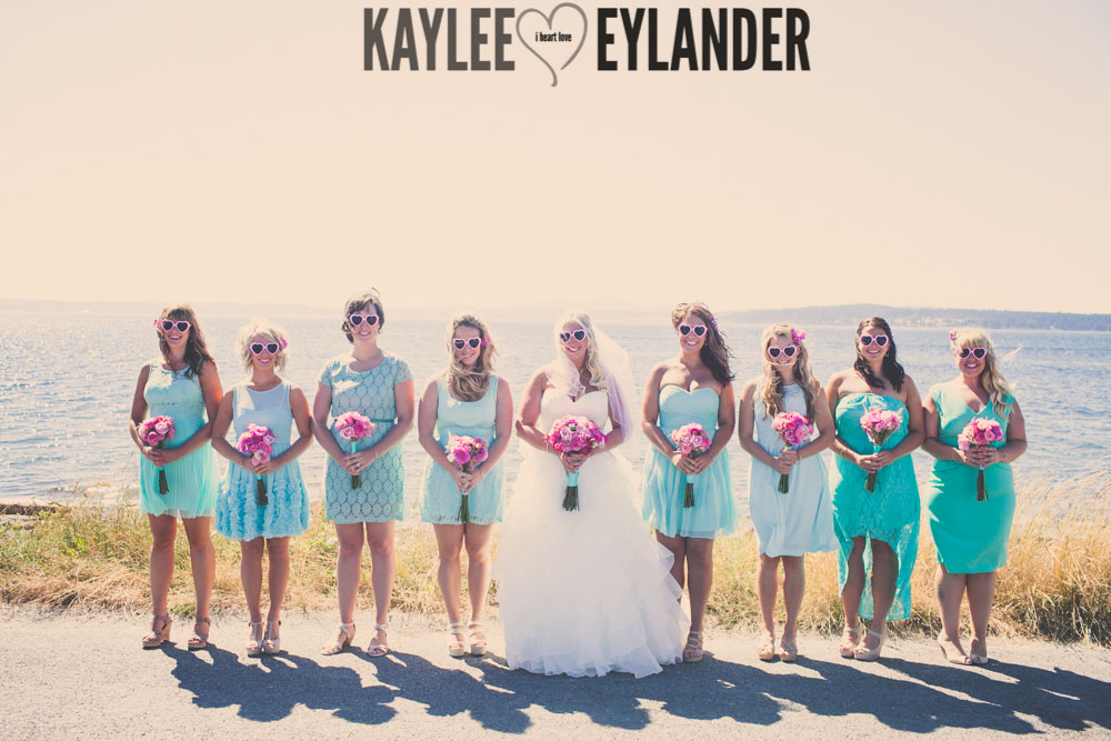 Turquoise and Pink fun wedding party 18 Lopez Island Community Center Wedding | Turquoise & Pink DIY...my fave!