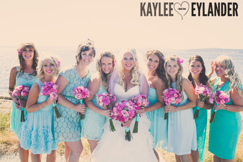Turquoise and Pink fun wedding party 20 Lopez Island Community Center Wedding | Turquoise & Pink DIY...my fave!