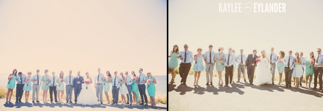Turquoise and Pink fun wedding party 22 1100x378 Lopez Island Community Center Wedding | Turquoise & Pink DIY...my fave!