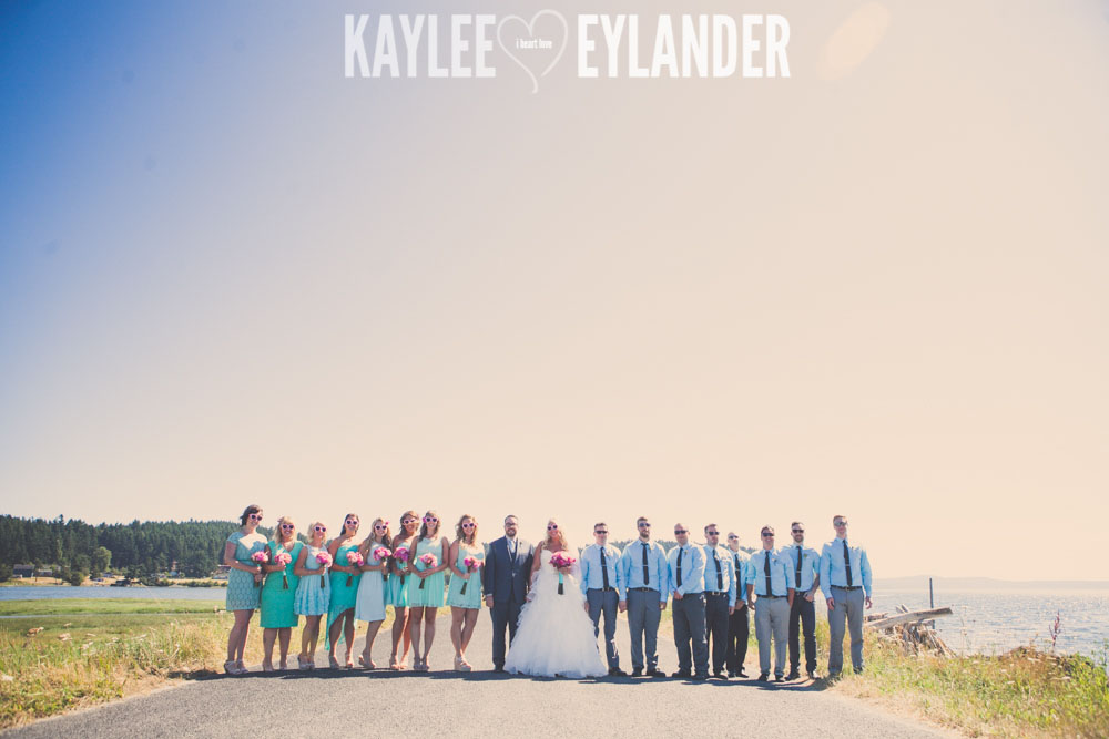 Turquoise and Pink fun wedding party 27 Lopez Island Community Center Wedding | Turquoise & Pink DIY...my fave!