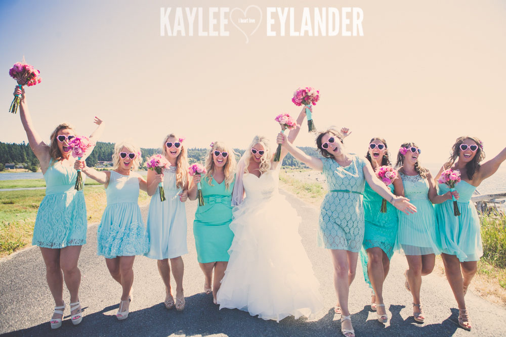 Turquoise and Pink fun wedding party 28 Lopez Island Community Center Wedding | Turquoise & Pink DIY...my fave!