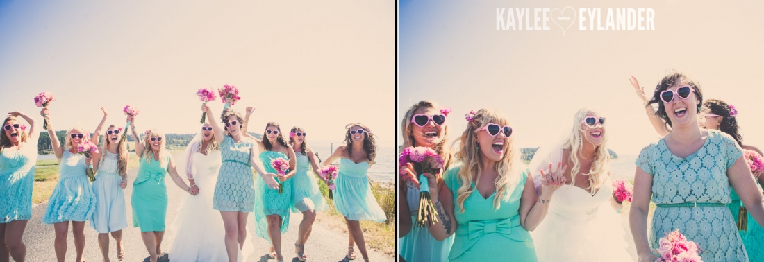 Turquoise and Pink fun wedding party 29 1100x378 Lopez Island Community Center Wedding | Turquoise & Pink DIY...my fave!