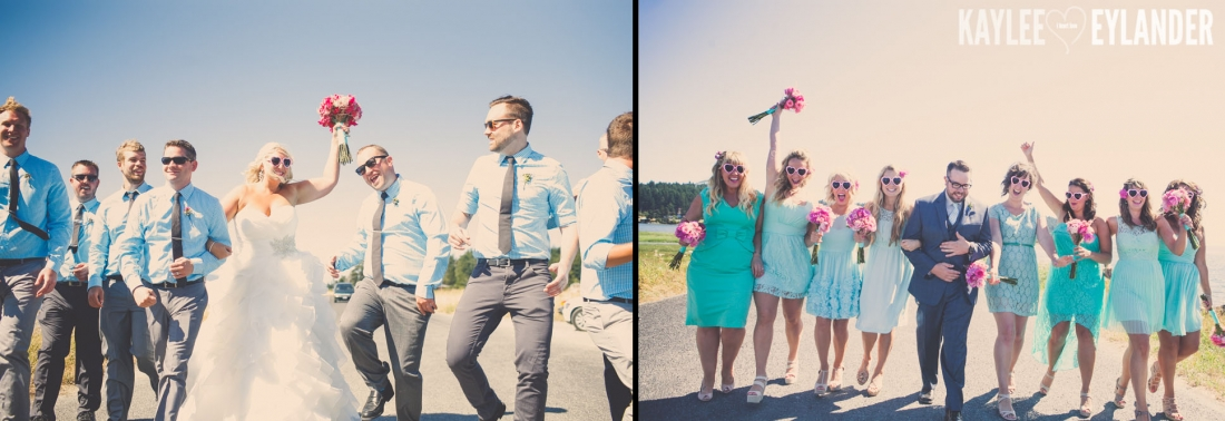 Turquoise and Pink fun wedding party 32 1100x378 Lopez Island Community Center Wedding | Turquoise & Pink DIY...my fave!